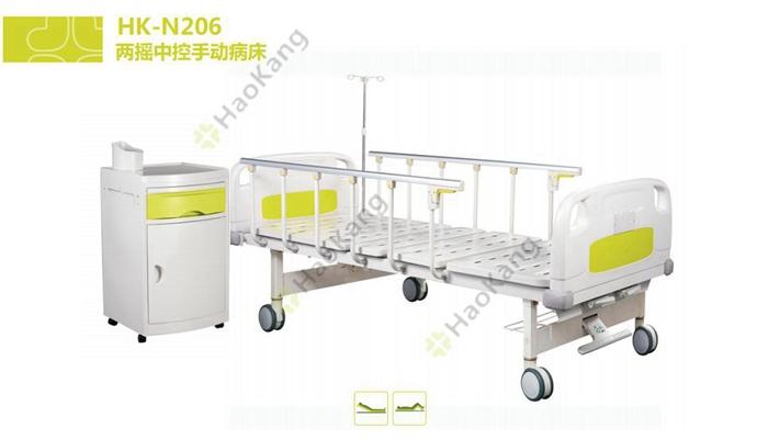 两摇三折带脚轮医用床HK206